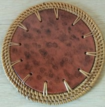 SET OF 10 ROUND WICKER BROWN CERAMIC TILE COASTERS BOHEMIAN STYLE - $14.80