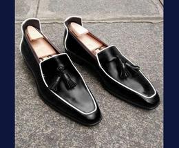 Handmade Men's Black Leather Slip Ons Tassel Loafer Shoes image 1