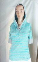 Calvin Klein Women's Hooded Knit Top Size S Aqua Cloud Print and Gray Striped  - $11.29