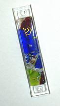 Murano Glass Handmade Mezuzah Case with 6.5 cm Scroll Dark Blue Murrina Italy image 2