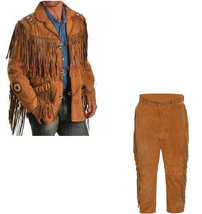New Men's Native American Buckskin Brown Suede Leather Jacket & Pant WS12 - $226.71+