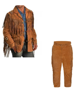 New Men's Native American Buckskin Brown Suede Leather Jacket & Pant WS12 - $204.04+