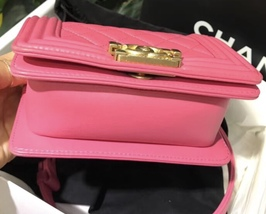 Auth Chanel Quilted Lambskin Pink Mini Boy Flap Bag Gold Hardware RARE  image 5