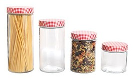 Anchor Hocking 4 Piece Glass Cylinder Jar Set with Gingham Lids, Clear/Red - $40.73