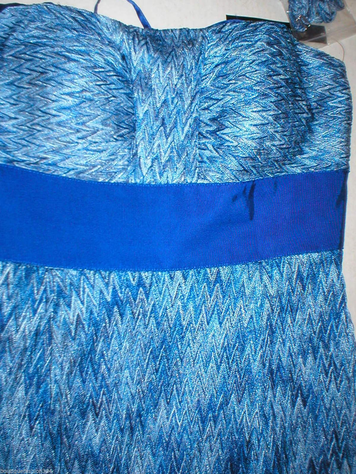 New Womens NWT $189 Tahari Dress Maxi Long Strapless Straps 8 Blue White Chevron