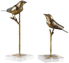 Uttermost Passerines Antiqued Gold Leaf 2-Piece Statue Set - $151.80