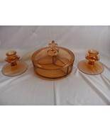 Vintage Fostoria 4 Pc Amber Glass Candlesticks Divided  Bowl Fleur D' A Lis - $64.35