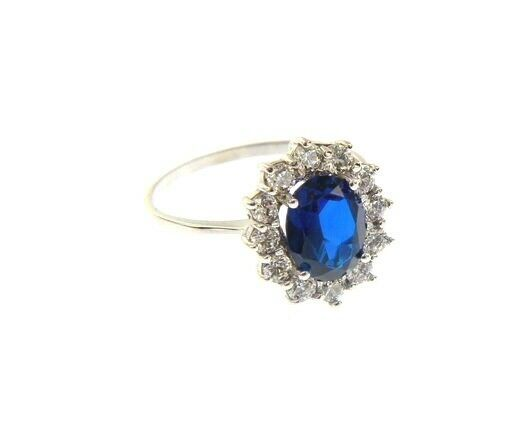 SOLID 18K WHITE GOLD FLOWER RING OVAL BLUE CRYSTAL AND CUBIC ZIRCONIA FRAME