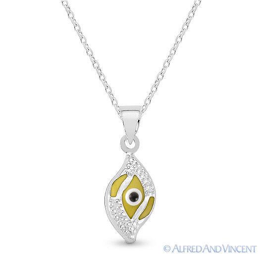 Evil Eye Glass Bead Greek Turkish Nazar Hamsa Pendant Sterling Silver Necklace image 13