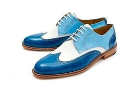 Handmade Men's Wing Tip Leather and Suede Lace Up Oxford Shoes image 1