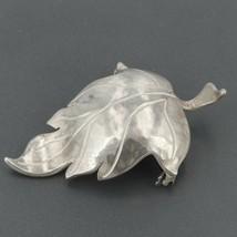 Vintage Hand Wrought Sterling Silver Hammered Leaf Pin Artisan Signed KR... - $19.99