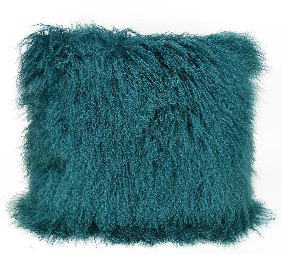Primary image for Tibetan lamb fur pillow Cover Mongolian sheepskin pillow cushion -  Turquoise Bl