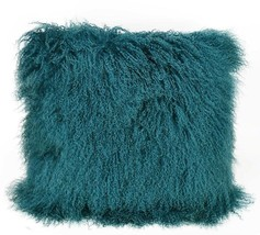 Tibetan lamb fur pillow Cover Mongolian sheepskin pillow cushion -  Turq... - £41.75 GBP