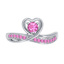 Round Cut Pink Sapphire 14k White Gold Over 925 Silver Lovely Heart Promise Ring - $59.49
