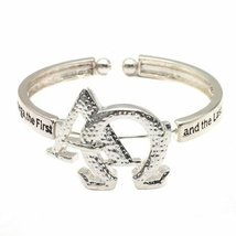Inspired Silver Alpha Omega Letters Engraved Silver Cuff Bracelet with R... - $590,81 MXN