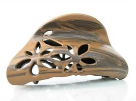 Faux wood wooden flower leaf hair claw clip barrette - $14.20