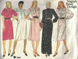 2896 Vintage Vogue Patrón de Costura Misses Suelto Ajuste Ligeramente un... - $9.99