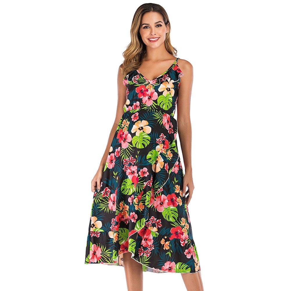 Maternity's Dress V Neck Floral Print Long Slip Dress