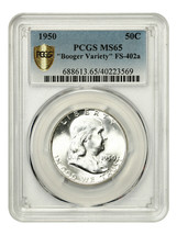 "1950 50c PCGS MS65 (FS-402a, ""Booger Variety"") - Franklin Half Dollar - $1,018.50"