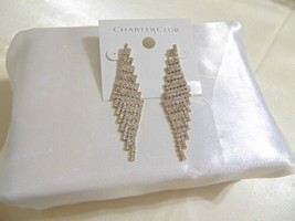 "Charter Club 2-3/4""Gold-Tone Crystal Pave Dangle Drop Earrings B650 $36 - $11.51"