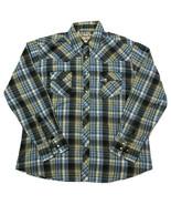 Wrangler Wrancher Men's XL Blue Plaid Pearl Snap Long Sleeve Shirt Western - $19.79