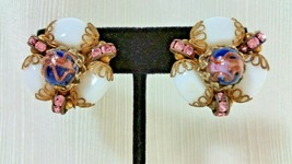 Vintage HOBE Gold Tone Clip On Earrings White Glass Pink Rhinestones Murano Bead - $89.99