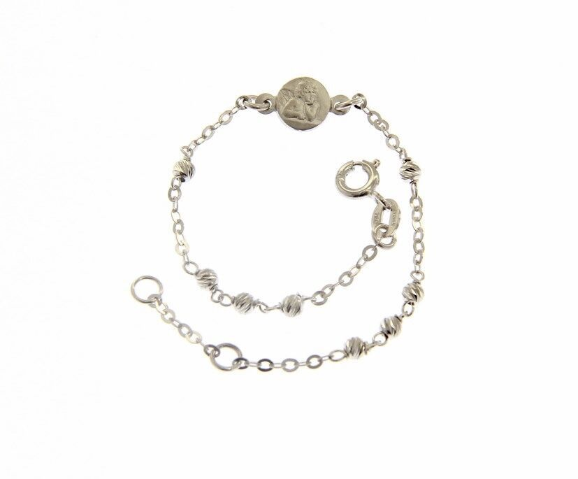18K WHITE GOLD BRACELET FOR KIDS WITH GUARDIAN ANGEL MADE IN ITALY 5.91 INCHES