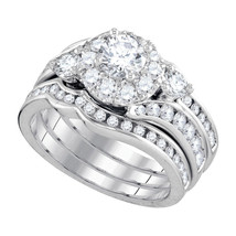 14kt White Gold Round Diamond Bridal Wedding Engagement Ring Band 3-Piece Set - $4,299.00