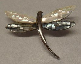 Liz Claiborne Dragonfly Brooch Pin MOP Mother of Pearl Abalone Silver Tone - $15.84