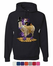 Corgi Riding a Gentleman Llama Hoodie Funny Weird Universe Dog Sweatshirt - $22.94+