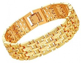 U7 Men Wrist Chain 18K Gold Plated Link Bracelet Classic Curving Solid Bangle - $36.67