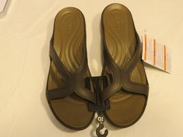 Crocs Sanrah wedge sandal W relaxed Fit slide Womens W 11 W11 Espresso Walnut - $37.41