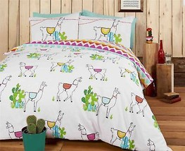 LLAMAS CACTI ZIG ZAG BLUE COTTON BLEND REVERSIBLE KING SIZE 6 PIECE BEDD... - $65.49