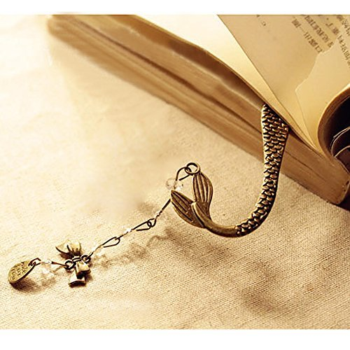 Koogel Metal Bookmark,Classical Exquisite Mermaid Hooks Bookmark with A String o