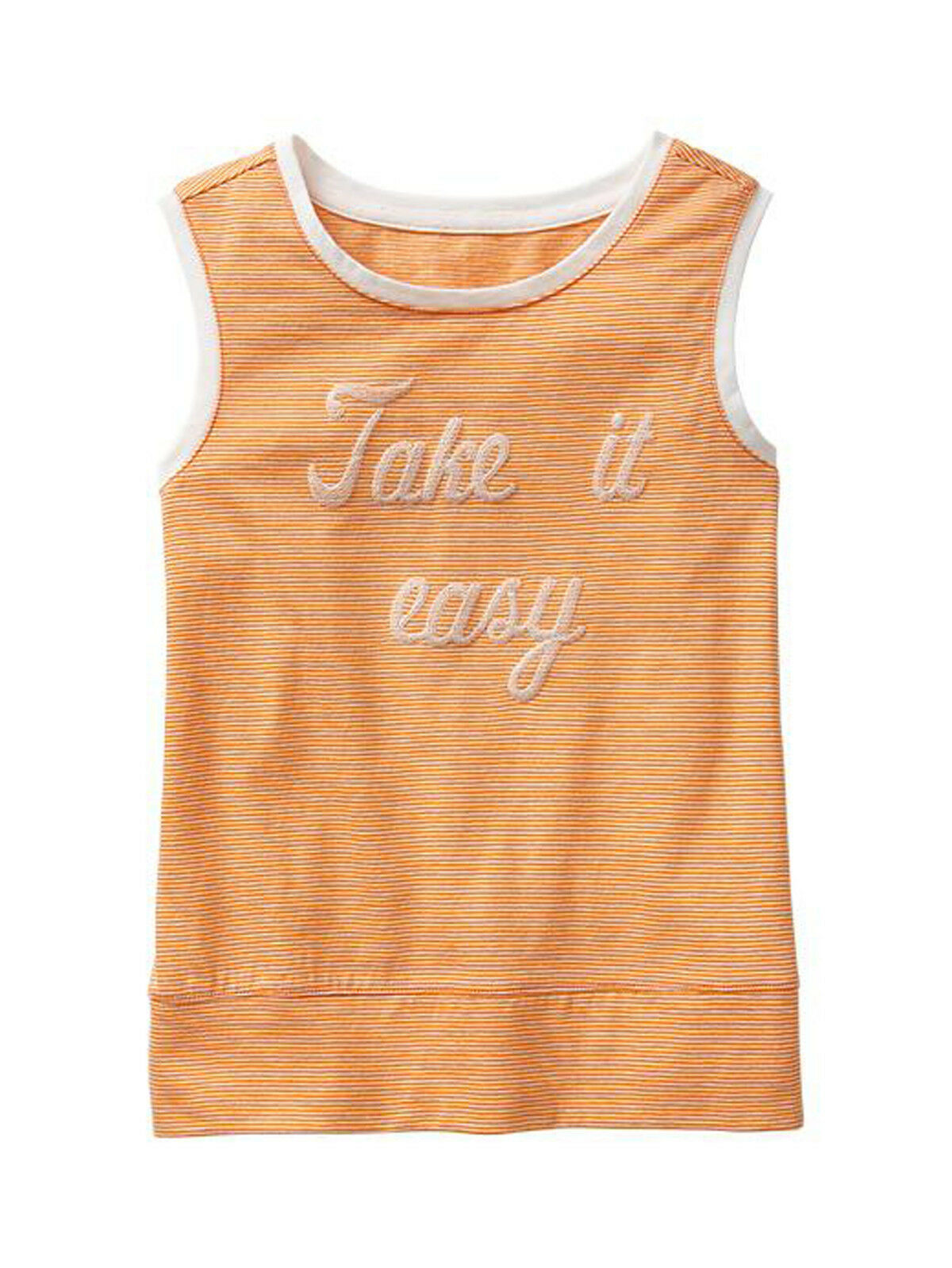 Primary image for GAP Kids Girls Tank Top Sz  XL 12 Graphic Orange Thin Stripe Sleeveless Trim New