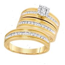 10k Yellow Gold His & Her Round Diamond Matching Bridal Wedding Ring Set - $699.00