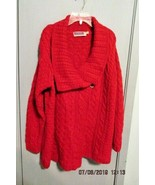 Highland Home Industries Red New Wool  one button Cardigan Sweater Large  - $26.75