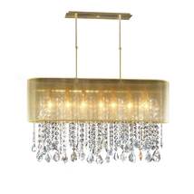 "AM4300: Clear Crystal Beaded Pendant Pipe Chandelier (16""-42"" W x 42"" H) $975+ - $975.00"