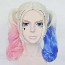 Batman Harley Quinn Cosplay Wig Suicide Squad Party Light Pink and Blue ... - $36.50