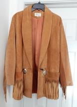 MELANZONA Jacket Coat Suede Western Cowboy FRINGE CONCHOS TAN M RARE VIN... - $239.95