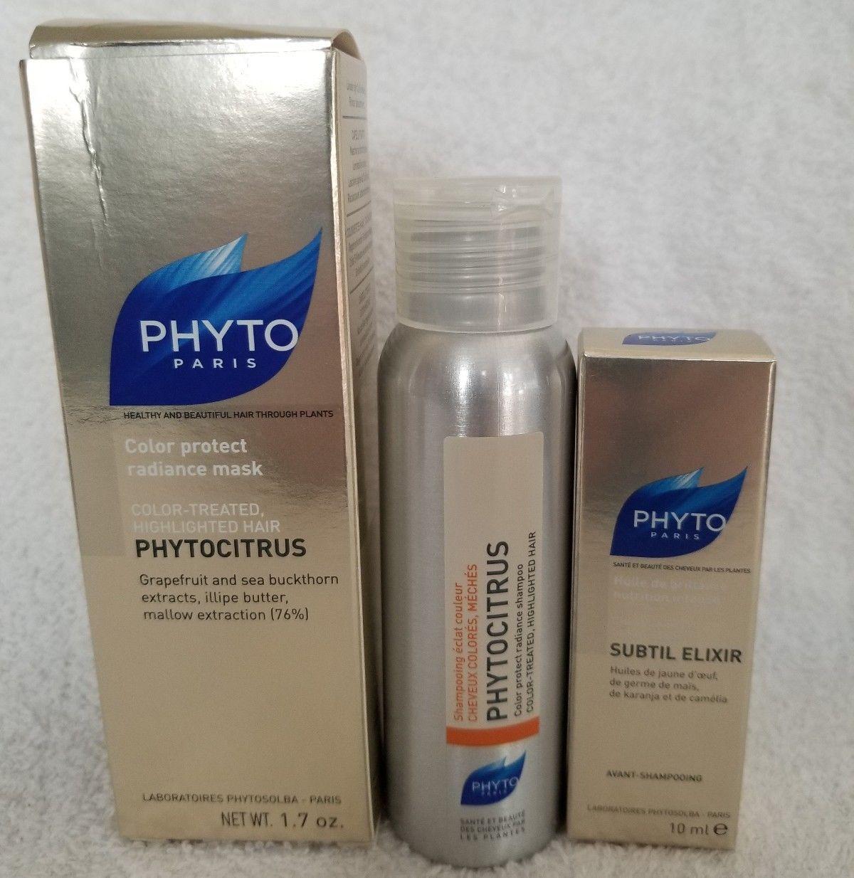 Phyto COLOR PROTECT 3Piece Travel Set PhytoCitrus Shampoo Mask Subtil Elixir New