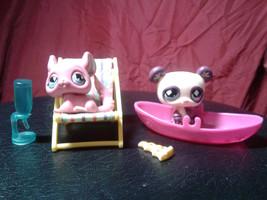 Littlest Pet Shop Pink Chinchilla & Beige Bear, w Accessories 2007, LPS^% - $15.00