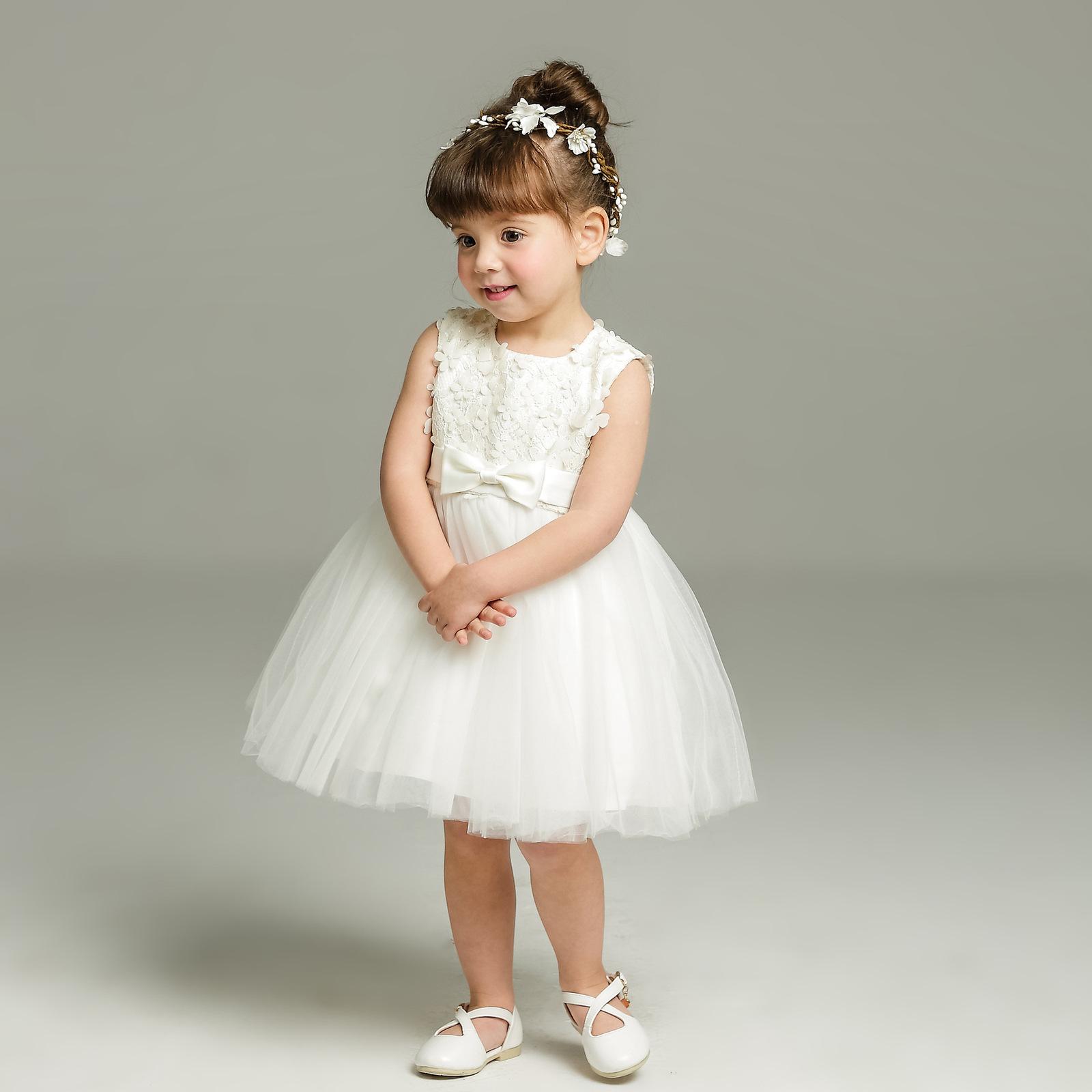 New Body Dress 0-24 Month Strapless White Flower Girl Dress Ball Gowns Short2018 image 2