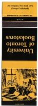 Ontario Matchbook Cover University Of Toronto Bookstores Yellow Antiquar... - $1.89