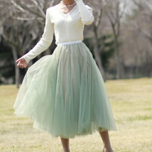 Sage Green Puffy Tulle Skirt Outfit High Waisted Midi Tulle Skirt Holiday Outfit image 2