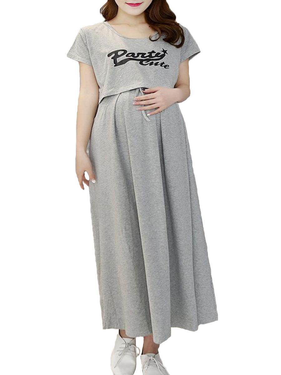 Maternity Dress Solid Color Letter Pattern Short Sleeve Nursing Dress