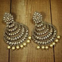 Gold Plated with Stunning Antique Finish Encased Kundan Pearl Chandbali ... - $19.79