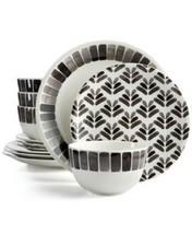 Martha Stewart Collection Heirloom 12-Pc. Black Dinnerware Set - $98.99