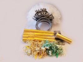 12 person New Years Eve LADIES party kit - feather tiaras blowers horns ETC - $19.75
