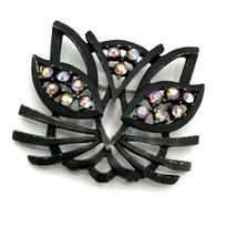 Vtg CORO Brooch Modernist Japanned Black Cat Pin Rhinestone Figural Hall... - $63.54